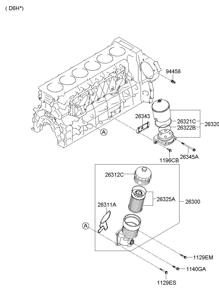 hyundai ht py expres filter bypass engine oil 2630183021 26301 7 3 Bypass Oil Filter 26320