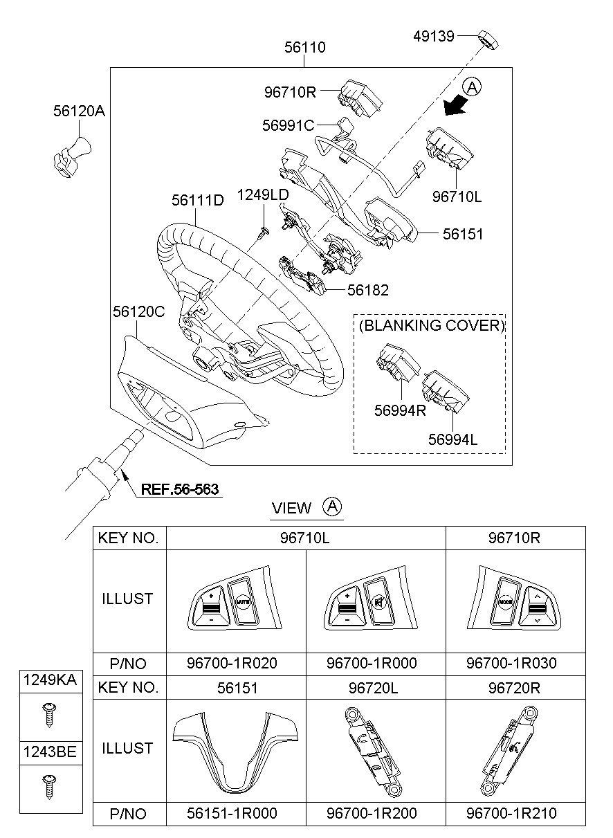 Genuine Hyundai 56111-1R100-9Y Steering Wheel Body