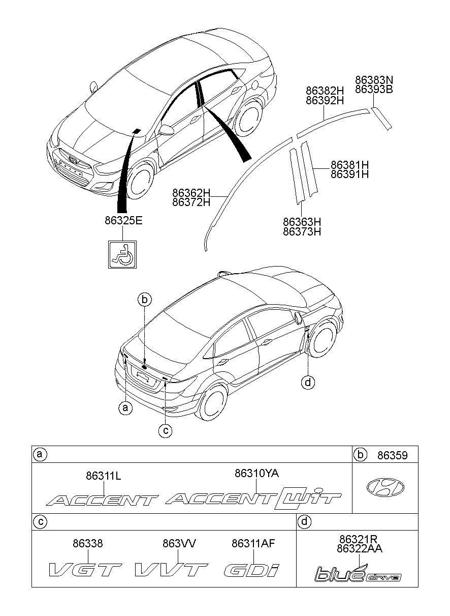 Genuine Hyundai 86381-3M000 Door Frame Tape